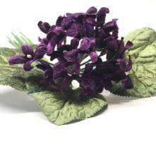 Vintage Posy of Plum Velvet Violets Hat Trim